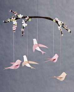 This beautiful bird mobile is a wonderful gift for new moms and a perfect way to add a little charm to any nursery.    Tools and Materials  Bird template  Heavyweight paper  Craft knife  Screw punch  White glue  Embroidery floss  1/8-inch armature wire  Wire clippers  Brown floral tape  Pink and green card stock  Flower craft punch  Leaf craft punch  Hot-glue gun and hot-glue sticks  Monofilament