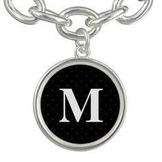 Monogram / Stylish Textile Pattern Dots Bracelets - monogram gifts unique custom diy personalize