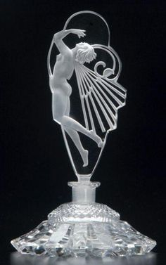 CZECH Perfume bottle in clear and frosted crystal, with nude stopper, 1920s…