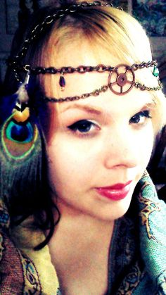 Steampunk Gypsy Empress Headdress with Peacock feather- Handmade. $30.00, via Etsy.