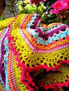 Colorful crochet shawl - no pattern, but simple shawl w/ pretty edging