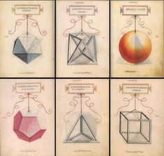 """Leonardo da Vinci's Geometric Sketches. Da Vinci illustrated Divina proportione, supplying sixty plates for the work. For the Platonic solids, Da Vinci supplied two views: a plane view and a """"vacua"""". Solid Geometry, Geometry Pattern, Luca Pacioli, Divine Proportion, Sacred Geometry Symbols, Platonic Solid, Work Images, E Mc2, Creative Activities"""