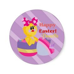 Easter Hatched Chick Custom Round Stickers by #MoonDreamsMusic #RoundStickers #EasterChick #EasterEgg #Egghatched #EnvelopeSeals