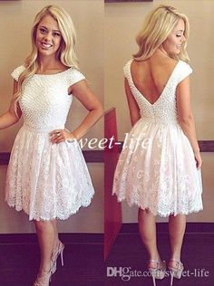White Pearls Lace Short Prom Dresses Vintage 2015 Cap Sleeves Backless Knee Length A-Line Arabic Party Queen Cocktail 8th Homecoming Dresses Online with $92.88/Piece on Sweet-life's Store | DHgate.com