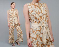 8b8f58d60ba8 Vintage 70s Mushroom Jumpsuit Denim Jeans Novelty Print High Waist Pant  Suit 1970s Festival Hippie Romper