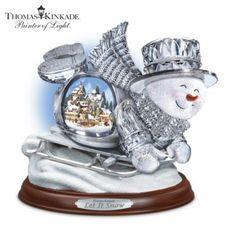 4358ef10c Thomas Kinkade Crystal Sledding Snowman: Let It Snow Figurine #DeckTheHalls  Thomas Kinkade Christmas,