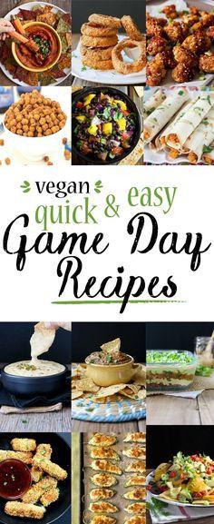 Quick & Easy Game Day Recipes   www.veggiesdontbite.com   #vegan #plantbased #gameday via @veggiesdontbite Healthy Superbowl Snacks, Healthy Vegan Snacks, Vegan Appetizers, Vegan Foods, Vegan Dishes, Vegan Apps, Healthy Recipes, Appetizer Recipes, Quick Easy Vegan