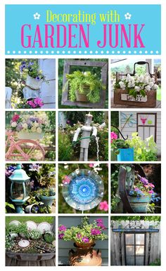 Two of my projects are included in this Hometalk collection ! 48 fun ways to decorate your garden with junk. art from junk upcycling Home and Garden DIY Ideas Garden Junk, Garden Yard Ideas, Diy Garden, Garden Crafts, Dream Garden, Lawn And Garden, Garden Projects, Art Projects, Outdoor Crafts