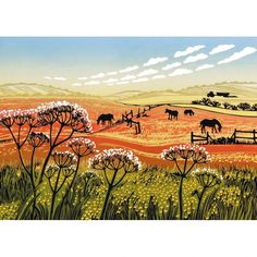 Rob Barnes - Buttercups and Cow Parsley Art Card - A great range from Calliope Gifts in our selections of gifts, homewares, toys and books. Cow Parsley, Amazing Paintings, Big Sky, New Print, Buttercup, Printmaking, Greeting Cards, Fine Art, Drawings