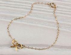"Gold Bow Bracelet, bow bracelet, bridesmaid jewelry, bridesmaid gift, gold bracelet, charm bracelet, bridesmaid bracelet, wedding,""Tiny Bow"