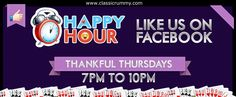 """ENJOY """"THANKFUL THURSDAYS"""" with FB HAPPY HOURS offer!!!  Starting from 7 pm till 10 pm...Avail this special offer before it expires.  Offer valid for limited time... Hurry.........  https://www.facebook.com/ClassicRummy/app_174961479209942"""