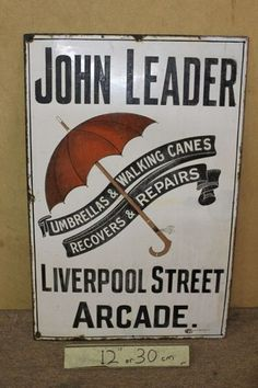 Antique John Leader Pictorial Umbrellas Enamel Sign