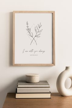 """""""I am with you always"""" Matthew 28:20 bible verse wall art is perfect to hang in nursery, kids rooms, or playrooms. Minimal christian nursery decor with floral line art. #ChristianNursery #NurseryScripture Nursery Bible Verses, Bible Verse Wall Art, Printable Bible Verses, Baby Room Wall Art, Nursery Wall Decor, Nursery Art, Christian Decor, Christian Wall Art, Matthew 28"""