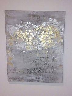 Hoja de oro y plata pintura abstracta sobre lienzo