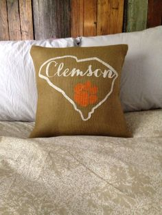 Burlap pillow, Clemson University pillow, Clemson Tigers pillow, custom made to order on Etsy, $31.00
