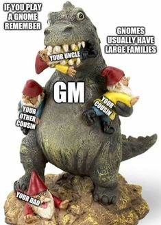 Gnomes, GM's are coming for your family, be careful! Geek Culture, Dungeons And Dragons, Cousins, Gnomes, Garden Sculpture, Geek Stuff, Outdoor Decor, Geek Things