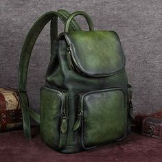 Handmade Full Grain Leather Backpack, Vintage Travel Shoulder Bag Model Number: Dimensions: x x / x x Weight: lb / Hardware: Chrome Hardware Shoulder Strap: Adjustable Color: Deep Green/Purple/Dark Brown/Coffee Features: Genuine Natural I Vintage Leather Backpack, Leather Backpack Purse, Backpack Bags, Leather Backpacks, Laptop Backpack, Leather Bags, Luggage Backpack, Laptop Bags, Messenger Bags