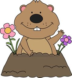 free groundhog clipart | Spring Groundhog Clip Art - groundhog with spring flowers around its ...