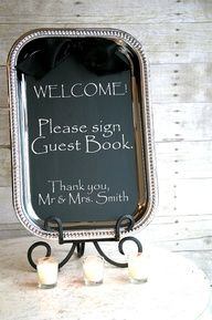 Metal tray with chalkboard paint  message.