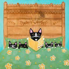 Bedtime Story with Mom - Whimsical Cat Folk Art Print 5x5, 8x8, 10x10