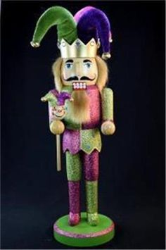 "14"" Nutcracker Jester Pink Green Purple Velvet w staff Mardi Gras 14709 Wooden #JRInternational"