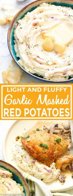 Garlic Mashed Red Potatoes - Famous Last Words Healthy Potato Recipes, Mashed Potato Recipes, Recipes For Red Potatoes, Healthy Southern Recipes, Healthy Food, Tomato Alfredo Sauce Recipe, Garlic Red Mashed Potatoes, Clean Eating Snacks, Cooking Recipes