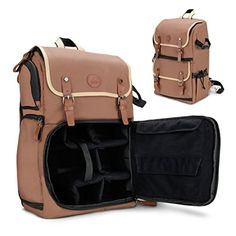 GOgroove DSLR Camera Backpack Case Tan for Photography and Laptop Travel Use with Accessory Storage Room  Tripod Holder and Weatherproof Rain Cover for Sony a6000  Canon EOS T6  Nikon D5500 ** Check out this great product.