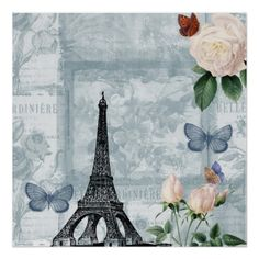 Vintage French Butterflies and Roses Posters