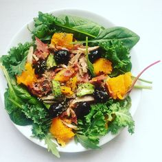 Seriously tasty salad for lunch.  Torn chicken and bacon with butternut squash avocado and olives on a bed of baby kale rocket and spinach with a sprinkle of oregano and a splash of EVOO.  #aippaleo #paleo #whole30 #scddiet #lowfodmap #lowcarb #crohns #crohnsdisease #ibd #ibdawareness #healthyeats #salad #lunch #wholefoods #jerf #plantbased by ahealthyhappyglow