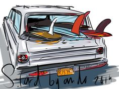 One of my surf art drawings Andoni Galdeano Surfboard Art, Skateboard Art, Surfing Uk, Surfing Quotes, Surf Design, California Surf, Surf Trip, Car Drawings, Surfs Up