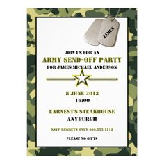 Custom Army Send-Off Party Invitations