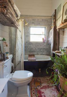 "Modern/Old bathroom   An Antique Dealer's ""Nostalgic Bohemian"" Nashville Bungalow"