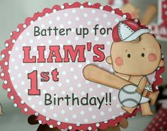 First Birthday Boy Baseball Party BANNER by bcpaperdesigns on Etsy