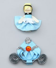 Take a look at this Blue & Silver Princess Carriage Clip Set by Picki Nicki Hair Bowtique on #zulily today!