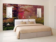 Red Forest WALL MURAL self adhesive peel and by ZestPhotography