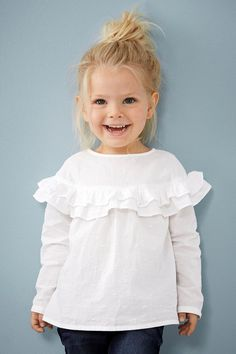 Buy White Ruffle Blouse from the Next UK online shop Little Girl Outfits, Little Girl Fashion, Toddler Fashion, Fashion Kids, Outfits Niños, Baby Outfits, My Baby Girl, Baby Girls, Kind Mode