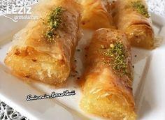 Baklava Yufkasında İrmikli Rulo Baklava Fresh Rolls, Tart, Muffin, Chicken, Baking, Ethnic Recipes, Desserts, Food, Gardening