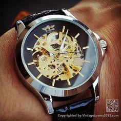 Steampunk Watch Men WAT0085BLACK by VintageLovers2012 on Etsy, $29.99