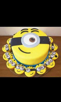 Cake and cupcakes minion Minion Birthday, Birthday Fun, Birthday Cake, Birthday Parties, Birthday Ideas, Minion Torte, Bolo Minion, Deco Cupcake, Cupcake Cakes