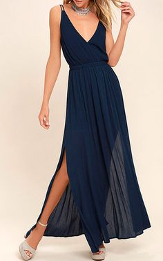 Navy blue dresses are very popular right now. TheLost In Paradise Navy Blue Maxi Dress is a great navy blue maxi dress. This dress offers that pleated look and has a bit of a sheer style to it. The plunging v-neckline along with the lightweight woven maxi skirt will have you feeling fresh all night …