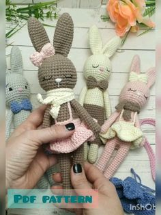 Stuffed animal bunny toys crochet with their own hands are a unique and unusual gift for easter and a wonderful decorations baby nursery shower gift. This animals will give many hours of play and your love. This listing is for only pdf pattern cro Crochet Bunny Pattern, Crochet Patterns Amigurumi, Crochet Dolls, Crochet Baby, Crochet Gifts, Bunny Toys, Bunny Bunny, Easter Bunny Decorations, Stuffed Toys Patterns
