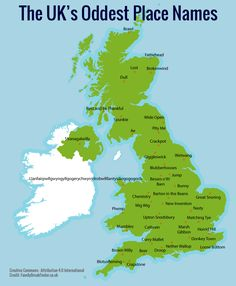Map shows UK's weirdest place names.