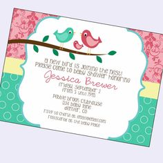 baby girl shower invitations, baby girl shower invite, bird shower invite, digital card, printable file, proof in 24 hours on Etsy, $11.00
