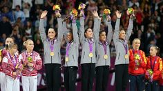 Team USA celebrates winning gold - I love these girls! They were totally flawless!