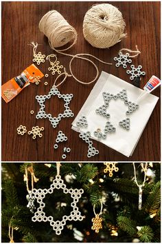 Simple hardware nuts can turn into a stunning snowflake Christmas ornament. All you need is a few materials and a little creativity. Click here to shop the list of what you'll need!
