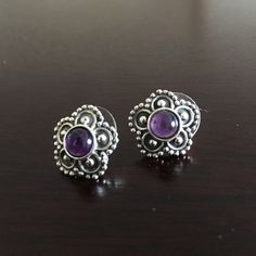 Amethyst Flower Earrings Adorable silver flower earrings; NWOT; sterling silver • NOT pandora Pandora Jewelry Earrings