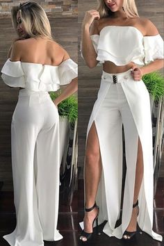 Summer 2018 trends and details White Pants OutfitShuttin' it down!Preppy Girls vs Urban Baddies young women fashion trends for 2018 and 2019 Soooo love this outfit ! Gotta find it !I couldn't wear this but it's so pretty White Fashion, Look Fashion, Womens Fashion, Fashion Design, Fashion Trends, Unique Fashion, Classy Outfits, Chic Outfits, Dress Outfits