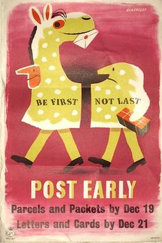 """Post Early"" for Christmas poster - Tom Eckersley, 1955"