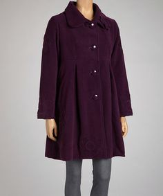 Take a look at this Purple Embroidered Coat by Coline USA on #zulily today! $130 !!