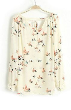 Specifications: Decoration:Button Clothing Length:Regular Pattern Type:Print Sleeve Style:Regular Fabric Type:Chiffon Material:Polyester Collar:V-Neck Sleeve Length:Full Size Shoulder Bust Length Slee
